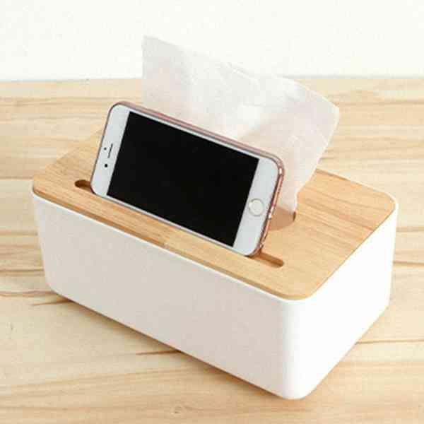 木質 簡約 面紙盒 衛生紙 紙巾盒 餐巾盒 置物盒 手機 凹槽 客廳 茶几 居家收納 『無名』 M02115