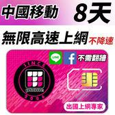 【TPHONE上網專家】 中國移動 8天無限4G高速上網 不降速 不須翻牆 FB/LINE直接用