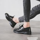 小皮鞋2020新款英倫春秋單鞋學生復古百搭系帶軟皮配裙子黑皮鞋女