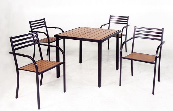 【 IS空間美學】鐵製塑木休閒方桌+鐵製塑木休閒椅 (一桌四椅)