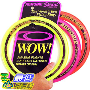 [美國直購] Aerobie B00005BV0D Sprint Ring 圓形 飛盤 一入裝 顏色隨機 Single Unit