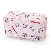 〔小禮堂〕Hello Kitty 菱格紋厚棉雙層拉鍊筆袋《紅粉.櫻桃》化妝包.收納包.工具包 4901610-98217