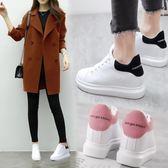 韓版內增高女鞋春季厚底坡跟顯瘦小白鞋