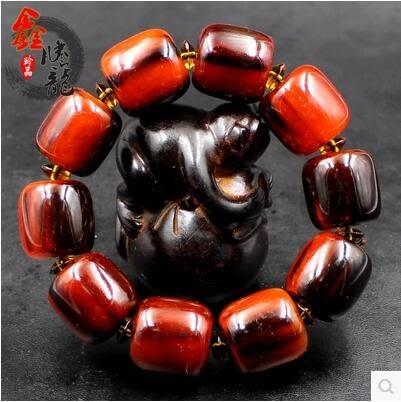 天然西藏犛牛角血絲手串手鍊 男女款手鍊