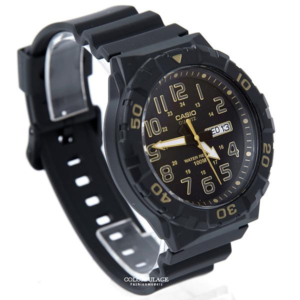 CASIO卡西歐黑金日期窗大膠錶 柒彩年代【NEC51】