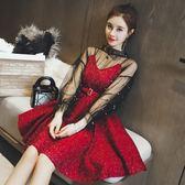 秋季正韓氣質網紗釘珠上衣閃亮吊帶收腰大擺洋裝兩件套