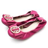 G.Ms. 微甜半糖-柔軟彎折牛皮平底娃娃鞋-桃紅色