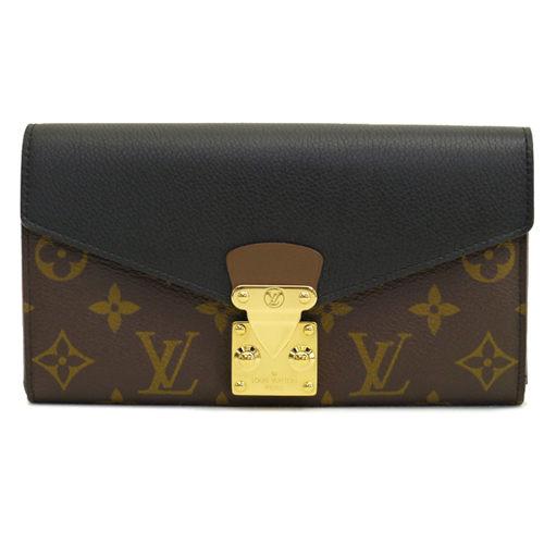 Louis Vuitton LV M58415 PALLAS 經典花紋皮革拼接壓扣零錢長夾.黑 全新 預購【茱麗葉精品】