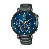 ALBA雅柏 新上市廣告款文青三眼計時碼錶VD53-X321SD (AT3E21X1) 藍面