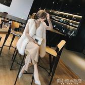 韓版坎肩時尚環保狐貍毛女背心皮草馬甲女中長款毛毛外套寬鬆     韓小姐