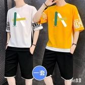 夏大碼休閒套裝男士五分短袖t恤韓版潮流一套男裝寬鬆運動兩件套 LR19298【Sweet家居】