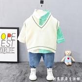 男寶寶春裝洋氣2兒童衣服帥氣3網紅嬰兒潮童裝一歲男童春秋款套裝 創意家居