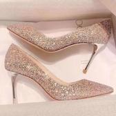 高跟鞋婚鞋新款亮片鞋百搭細跟高跟鞋適合結婚宴會少女網紅同款鞋全館全省免運