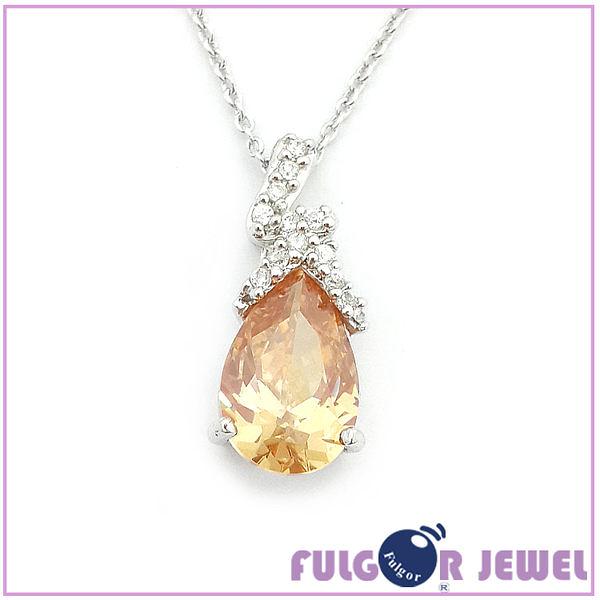 流行飾品 歐美流行款式 水滴形鋯石 項鏈【Fulgor Jewel】