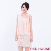 【RED HOUSE 蕾赫斯】花朵蕾絲無袖洋裝(粉橘)-單一特價