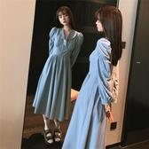 洋裝 韓系秋赫本風娃娃領泡泡長袖連身裙 花漾小姐【預購】