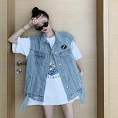 牛仔馬甲 網紅炸街馬甲無袖牛仔外套女寬鬆韓版薄款夏天坎肩夾克工裝上衣潮 童趣屋 交換禮物
