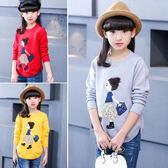 兒童中大童女童休閒卡通圖案長袖上衣毛衣。黃色 / 灰色 / 紅色
