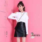 小皮裙 半身裙女2020新款秋冬黑色高腰包臀A字裙PU小皮裙短裙女