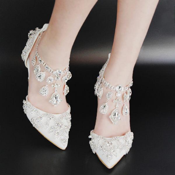 尖頭一字扣水晶水鉆高跟涼鞋