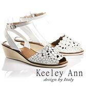 ★2017春夏★Keeley Ann氣質甜美~小清新四葉草全真皮魚口楔形涼鞋(白色)
