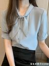 短袖雪紡襯衫女夏季2021年新款蝴蝶結氣質職業OL襯衣時尚洋氣上衣 美眉新品