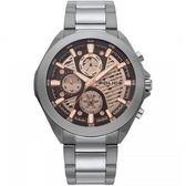 【台南 時代鐘錶 POLICE】義式潮流 WADDEN三眼日期腕錶 15654JSU-04 咖啡 47mm
