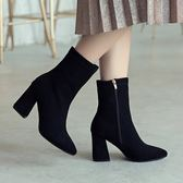 尖頭絨面短靴 粗跟高跟馬丁靴 女鞋靴子  迪澳安娜