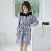 長袖洋裝-格子拼接綁帶假兩件連身裙73xm14[時尚巴黎]