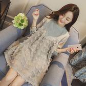 孕婦裝春裝夏裝新款時尚韓版中長款上衣七分袖孕婦連身裙夏季【卡米優品】