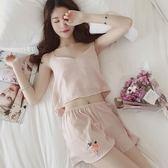 睡衣女夏季韓版冰絲性感吊帶背心套裝少女甜美可愛家居服兩件套薄