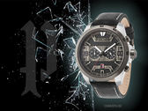 【時間道】POLICE 粗曠刷舊錶盤兩眼腕錶/黑面黑框黑皮(15365JSTU-02)免運費