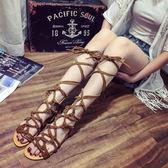 歐美夏款羅馬鞋絨皮平底鞋草編麻繩繫帶女鞋細帶露趾流蘇包跟涼鞋『韓女王』