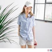《AB2635》高棉量配色直條紋立領雙口袋設計五分袖寬鬆襯衫 OrangeBear