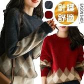 EASON SHOP GQ0502  復古撞色菱形格紋格子落肩寬鬆圓領長袖連肩袖毛衣針織衫