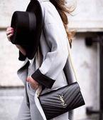 ■現貨在台■專櫃81折■Saint Laurent monogram 大款 22 CM WOC 魚子醬皮革金色鍊帶皮夾