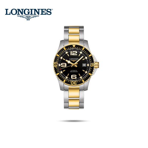 LONGINES浪琴原廠公司貨征服者300米潛水機械錶64小時動力儲存黑x雙色金/41mm L37423567