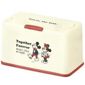 小禮堂 迪士尼 米奇米妮 塑膠 按壓彈蓋面紙盒 方形 抽取式紙巾盒 口罩盒 (米紅 站姿) 4973307-47352