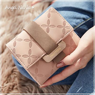 短夾-花朵格紋撞色女皮夾零錢包 AngelNaNa (SMA0262)
