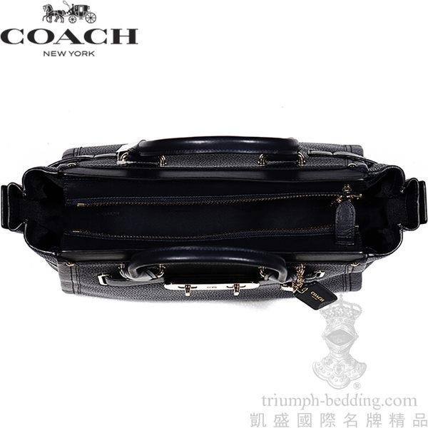【凱盛國際名牌精品】全新真品COACH Oraclefox愛用-深藍荔枝小牛皮-手提肩斜背三用-大Swagger Carryall包