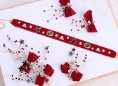頸鏈韓式新娘髪飾紅色敬酒服頭飾