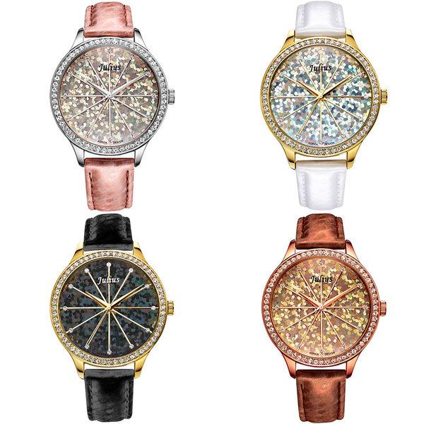 JULIUS 聚利時 璀璨萬花筒水鑽皮帶腕錶-白色/38mm 【JA-791B】