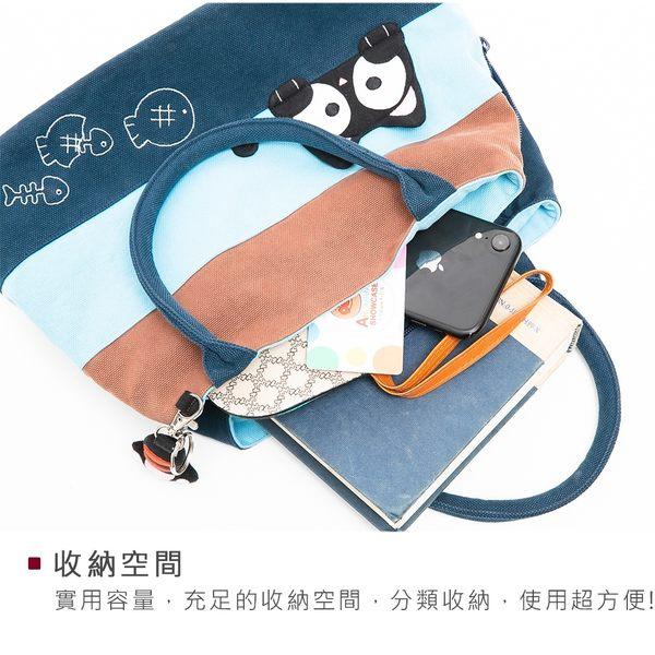 Kiro貓‧ 小黑貓三層拼布包 外出收納/手提小方包【810034】