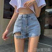 夏季新款設計感綁帶高腰顯瘦牛仔短褲女百搭彈力A字熱褲 快速出貨