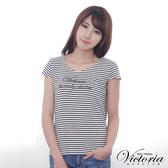 Victoria 彈性條紋LOGO印花T-女-黑白條-Y8505888