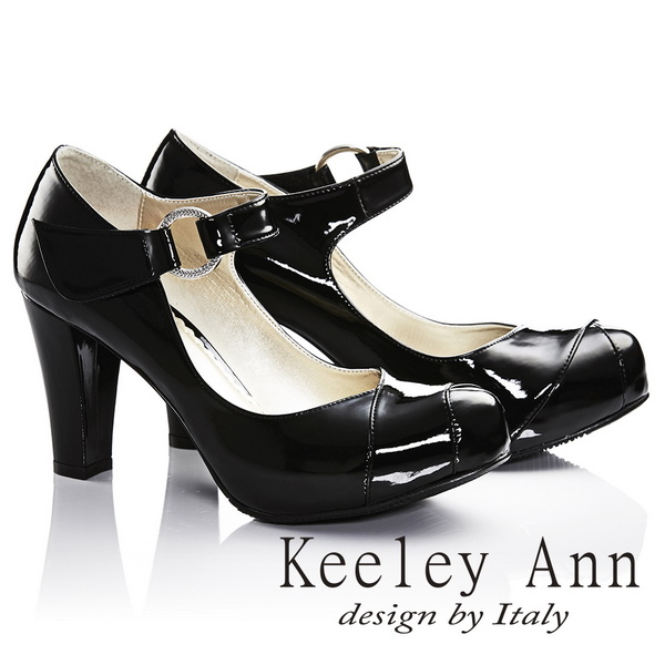 Keeley Ann輕熟名媛 MIT極簡魔鬼氈腳背帶瑪莉珍鞋(黑色)