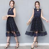 FINDSENSE G5 韓國時尚 網紗 連身裙 端莊 大氣 背心裙