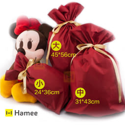 滿1288元,(隨機送精美包裝袋) ----- Hamee 金色緞帶 喜氣洋洋 包裝束口袋 禮物