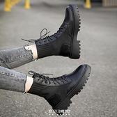 顯腳小馬丁靴女英倫風新款襪靴百搭厚底春秋單靴短靴子潮ins 快速出貨