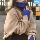 【V3243】shiny藍格子-入冬街潮 ‧ 假兩件針織高領刷毛長袖上衣